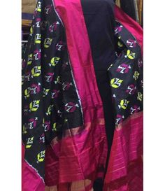 Black Pure Handloom Double Ikkat Patola Silk Dupatta