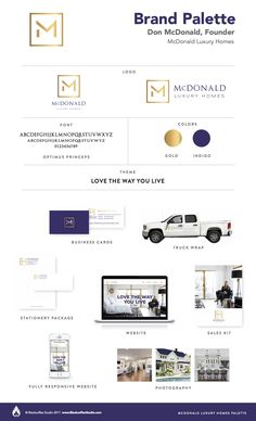 Brand Palette: McDonald Luxury Homes Branding Agency, Luxury Branding, Branding Design, Sales Kit, Home Logo, Photography Website, Fashion Branding, House Colors, Luxury Homes