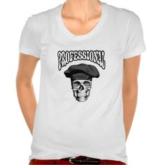 "Black and white chef skull wearing traditional, black, puffy style chef hat, and the title ""Professional""."