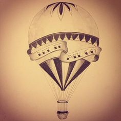 """vintage hot air balloon tattoo with """"the world is your playground"""""""