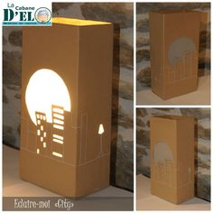 """Lampe """"City"""", en brique alimentaire en carton et papier kraft"""