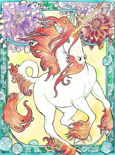 art nouveau unicorn watercolor by jupiterjenny.deviantart.com on @deviantART