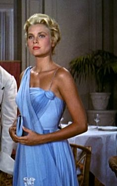 """Grace Kelly in Edith Head's blue chiffon dress - """"To Catch a Thief"""" I AM MADLY IN LOVE WITH THIS DRESS"""