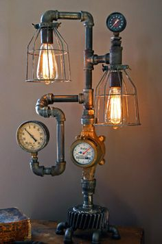 Machine Age Lamps Steampunk Gear Steam Gauge eclectic table lamp. I could make this....