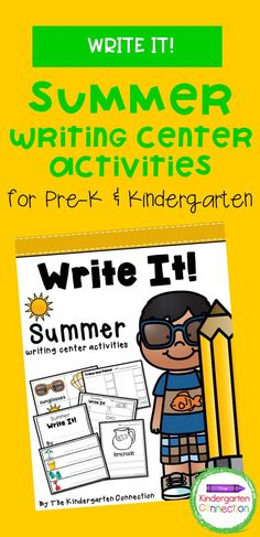 Looking for a fun way to get kids practicing important writing skills in Kindergarten or Pre-K? Our Writing Center Activities are perfect for getting kids labeling, writing, and creating! The pack is 28 pages long and includes 5 different activities. This is a great resource for kindergarten teachers, and your kids will love these fun summer-themed writing station activities!