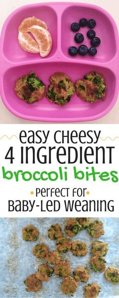 Easy Cheesy 4 Ingredient Broccoli Bites These broccoli bites make the perfect healthy toddler snack, and are also an excellent choice for baby-led weaning. They are not only made with 4 simple ingredients, they're also vegetarian and can be made in about Baby First Foods, Baby Finger Foods, Broccoli Bites, Broccoli Baby Food, Broccoli Recipes, Broccoli Fritters, Fingerfood Baby, Healthy Toddler Snacks, Homemade Toddler Snacks