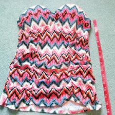 GLO Bustier Padded Aztec Ruched Strapless Top Brand new. Never worn. Size - S. Has padded bust with blue, pink, white, orange, and black Aztec type print. Great for summer. Tag has been removed but still has the plastic tag holder attached to blouse. xx GLO  Tops Blouses