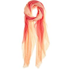CHAN LUU Sunset Cashmere Blend Scarf ($119) ❤ liked on Polyvore featuring accessories, scarves, coral, chan luu scarves, chan luu, ombre scarves and lightweight scarves