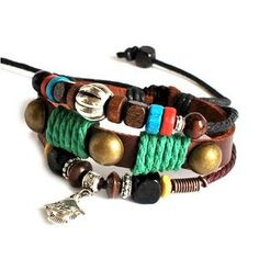 Jewelry Bangle women Leather Bracelet Girl Ropes Bracelet Men Leather Bracelet with Multicolor beads 734A. $8.00, via Etsy.