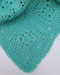 """Baby Puff Square Afghan Crochet Pattern Original Design By Maggie Weldon Intermediate Skill Size: Approximately 42"""" square Materials: Light Worsted Weight Yarn: Baby Green (MC) 22ozx, 1500 yds (616 g,"""