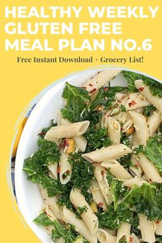 Download this week's free printable PDF Gluten Free Weekly Meal Plan with Grocery List. You get 5 easy dinner recipes, 1 breakfast, 1 snack, and 1 healthy treat. All recipes are gluten free. Visit EA Stewart, RD at www.eastewart.com for your meal plan. Enjoy in good health! Gluten Free Meal Plan, Gluten Free Recipes For Dinner, Easy Healthy Recipes, Easy Dinner Recipes, Healthy Weekly Meal Plan, Easy Meal Prep, Edamame Salad, Meal Plan Grocery List, Kale Pasta