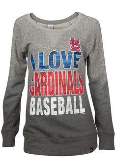 St Louis Cardinals Womens Crew Sweatshirt - Grey Cardinals Love Dip Dyed Mocktwist Long Sleeve Sweatshirt