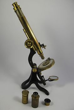 CASED BRASS VICTORIAN MONOCULAR MICROSCOPE. HENRY CROUCH. LONDON. No 948.