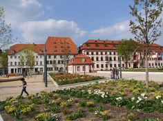 ERFURT (GERMANY): In spring blooming flowerbeds enrich the picturesqe appearance of the state parliament near the historic old town. Erfurt has long been renowned as a city associated with flowers and horticulture.
