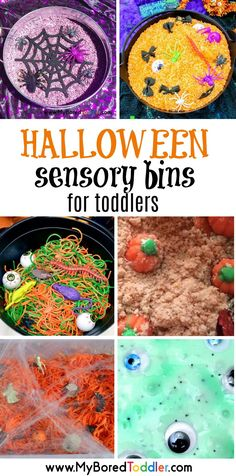 Halloween sensory bins for toddlers: We are loving these toddler Halloween sensory bins this year. Halloween makes sensory bins even more fun. Halloween Activities For Toddlers, Fun Halloween Games, Games For Toddlers, Halloween Crafts For Kids, Infant Activities, Fall Crafts, Diy Halloween, Sensory Activities, Halloween Costume 2 Year Old