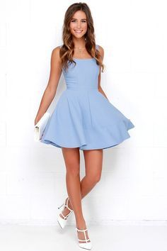 The Home Before Daylight Periwinkle Dress is the perfect party companion! Knit tank straps support a stunning bodice with a sexy square neckline and scoop back. Spring Formal Dresses, Hoco Dresses, Event Dresses, Wedding Dresses, Simple Homecoming Dresses, Cute Dresses For Party, Skater Dresses, Dresses Dresses, Dress Party