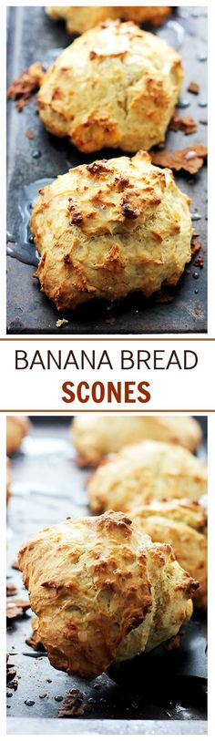 Banana Bread Scones: The sweet and delicious taste of Banana Bread in a Scone! A… Banana Bread Scones: The sweet and delicious taste of Banana Bread in a Scone! Quick Snacks, Quick Easy Meals, Breakfast Recipes, Dessert Recipes, Scone Recipes, Breakfast Bake, Bread Recipes, Delicious Desserts, Yummy Food