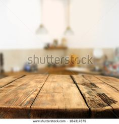 table and kitchen space  - stock photo