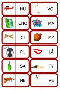 domino slabiky Struktura, Alphabet, Calendar, Learning, Holiday Decor, Speech Language Therapy, Alpha Bet, Studying, Teaching