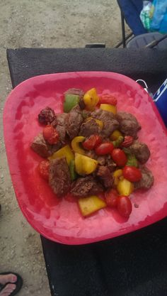 Shish( with no)Kabobs : / time saver just cook over grill pan with holes and enjoy fire roasted veggies and grilled meat