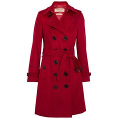 Burberry The Sandringham cashmere trench coat ($2,465) ❤ liked on Polyvore featuring outerwear, coats, jackets, coats & jackets, red, red trench coat, red double breasted coat, trench coats, cashmere coats and red cashmere coat