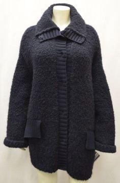 RE.SET Sz 10 Navy Boucle Wool/Alpaca Blend Soft Sweater Coat
