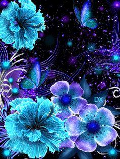 MENSAGENS  AFINS: Gifs de Flores Brilhantes Cute Wallpaper Backgrounds, Pretty Wallpapers, Love Wallpaper, Dreamcatcher Wallpaper, Blue Butterfly Wallpaper, Butterfly Art, Butterfly Pictures, Flower Images, Gothic Fantasy Art