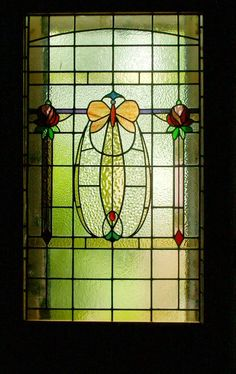 richwelsh:  Butterfly stained glass door panel extended from a window (1920's) bought from Glasgow Architectural Salvage. Maryhill, Glasgow.www.rdwglass.co.uk