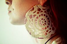 Vintage doily wrapped hoop earrings by amberolsen on Etsy, $40.00