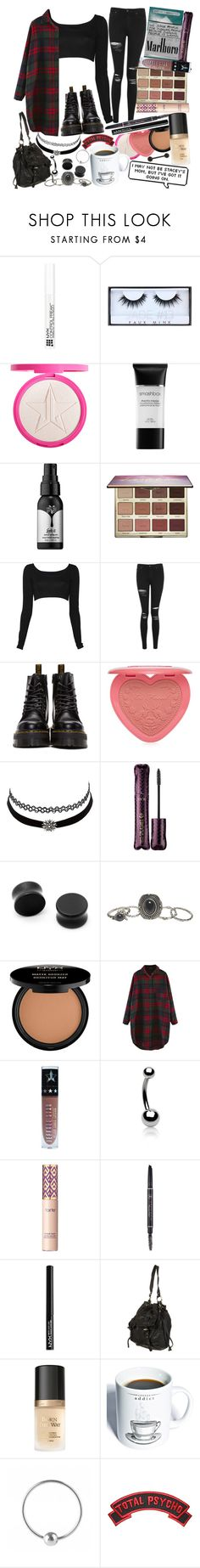 """""""With nights like these, who needs the days? I shut my eyes and sleep them away, I'm on the dark side of your room with the notches on your bedpost."""" by thelyricsmatter ❤ liked on Polyvore featuring NYX, Huda Beauty, Smashbox, Kat Von D, tarte, Nadia Tarr, Topshop, Dr. Martens, Too Faced Cosmetics and Charlotte Russe"""