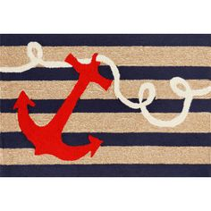 Anchor Navy Indoor/ Outdoor Mat features bold  red ship's anchor on a navy and natural stripped color background. This is a coastal rug that is sure to liven up any space. The content and quality of this hand tufted, synthetic blend rug will hold up to indoor or out door use. Three Sizes: 24x36