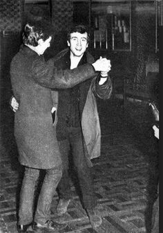 John Lennon & Paul McCartney foxtrot during their set at the Lyceum Ballroom, Aldershot on 9 December 1961, their first show in the South of England. Poor promotion and advertising meant only 18 punters showed up. A battle of the bands, the other act also failed to arrive.