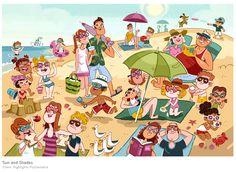 A1 - Estar + Gerundio, Preposiciones de lugar y vocabulario de la playa. Ilustación de Genevieve Kote.
