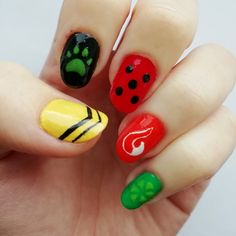 Miraculous Ladybug Fanfiction, Miraculous Ladybug Fan Art, Cute Acrylic Nail Designs, Best Acrylic Nails, Ladybug Nail Art, Cute Nails, Pretty Nails, Anime Nails, Dream Nails