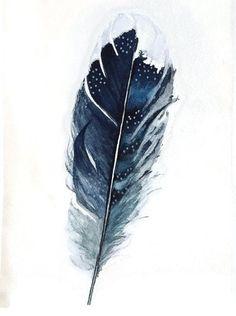 Pluma Azul | Etsy