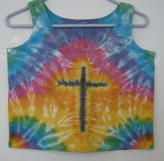 Christian Cross Rainbow tie dye crop tank by kellieskreativeworks, $10.00