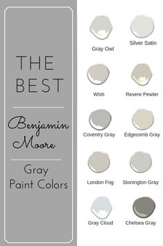 Choosing a Benjamin Moore gray paint color can be a daunting task. With so many gray paint colors to choose from you can become overwhelmed. Use this help list of the top 10 Best gray paint colors from Benjamin Moore. Benjamin Moore Gris, Colores Benjamin Moore, Benjamin Moore Kitchen, Harbor Gray Benjamin Moore, Benjamin Moore Silver Satin, Benjamin Moore Cabinet Paint, Benjamin Moore Stonington Gray, Benjamin Moore Classic Gray, Ideas