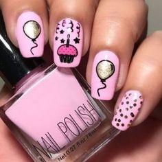 Top 20 Geburtstagsnägel - Birthday Nails And Party Nails - Nageldesign Nail Art Designs, Girls Nail Designs, Nails Design, Birthday Nail Art, Birthday Nail Designs, Birthday Design, Trendy Nails, Cute Nails, My Nails