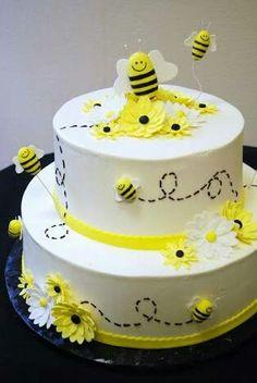 Bee Cake- ideas for my Ba-Bee Shower. Bee Cakes, Cupcake Cakes, Cupcakes, Bee Hive Cake, Bumble Bee Cake, Bumble Bees, Shower Bebe, Birthday Cake Decorating, Cake Birthday