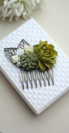 Olive Rose Rose, Green Rustic Flower, Vintage Style Hair Comb. Bridesmaids Gift. Nature Inspired Bridal Hair Comb. By Marolsha.
