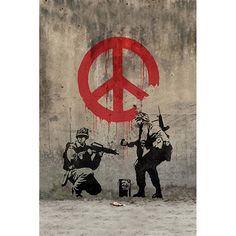 Banksy 'Soldiers Painting Peace Sign' Canvas Print Wall Art