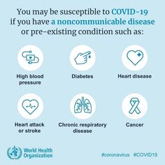 Thank you for the info @who ・・・ You may catch #COVID19 and be at risk of becoming severely ill, if you've a noncommunicable disease/a pre-existing condition such as: ❗️Cardiovascular disease ❗️Chronic respiratory disease ❗️Diabetes ❗️Cancer  Here are tips for people affected by these conditions to stay safe: ✔️Take your medicine & follow medical advice ✔️Secure 1 month+ supply of medication ✔️Keep distance from sick people ✔️Wash 👐 often ✔️🚭 or quit drinking 🍾 ✔️ Protect mental health…
