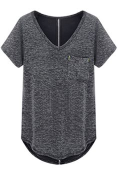 Simple V-neck with nice back detail #ROMWE
