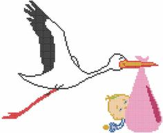 Stork with baby cross stitch free embroidery design - Cross stitch machine embroidery - Machine embroidery community