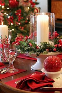 Christmas Tablescape - Mix pieces and use cake pedestale