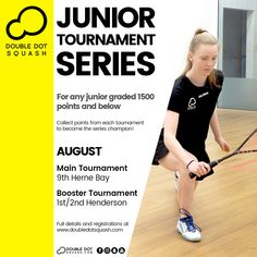 Register now for our junior tournaments coming up next month! For any junior graded 1500 points and below. - www.doubledotsquash.com/juniortournamentseries _ #doubledotsquash #squash #brownsbayracquetsclub #hernebayracketsclub #brownsbay #hernebay #squashauckland #squashnz #squashnewzealand #squashcoaching #squashcoach #juniorsquash #psaworldtour #lovesquash #squashclub #squashcourt #squashies #squashplayer #ddsjuniortournamentseries