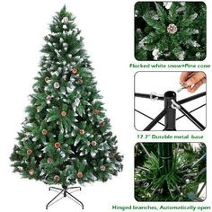 Artificial PVC Christmas Tree W/Stand Holiday Season Indoor Outdoor Green for sale online Pencil Christmas Tree, Pine Cone Christmas Tree, Flocked Christmas Trees, Christmas Tree Ornaments, White Christmas, Tree Base, Pine Cone Decorations, Artificial Tree, Indoor Outdoor