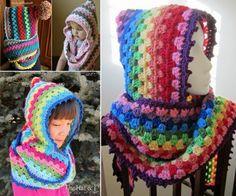 Crochet Harlequin Hooded Cowl Free Pattern