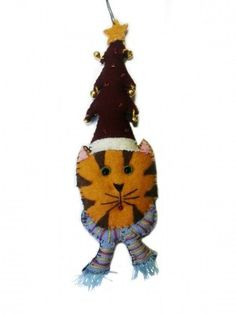 Orange Kitty Cat with Christmas Tree Hat Wool Felted Applique Ornament | Little Handcrafts