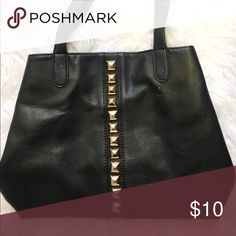 Forever 21 Studded Tote- Can be worn 2 ways! This is a black faux leather studded tote from Forever 21. It has snaps on the inside so that the bag can be worn in 2 different shapes as pictured. Super cute bag! Smoke and pet free home Forever 21 Bags Totes